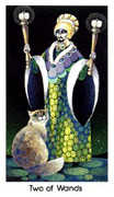 Two of Wands Tarot card in Cat People Tarot deck