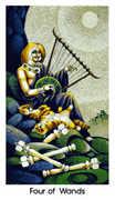 Four of Wands Tarot card in Cat People Tarot deck