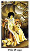 Three of Cups Tarot card in Cat People deck