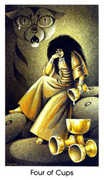 Four of Cups Tarot card in Cat People deck