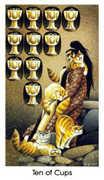 Ten of Cups Tarot card in Cat People Tarot deck