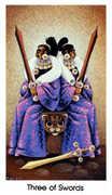 Three of Swords Tarot card in Cat People deck