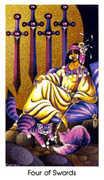 Four of Swords Tarot card in Cat People deck