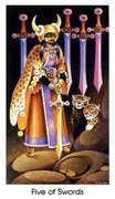 Five of Swords Tarot card in Cat People deck
