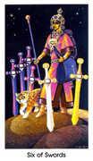 Six of Swords Tarot card in Cat People deck