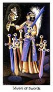 Seven of Swords Tarot card in Cat People deck