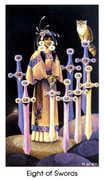Eight of Swords Tarot card in Cat People deck