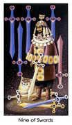 Nine of Swords Tarot card in Cat People deck