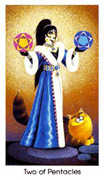 Two of Coins Tarot card in Cat People Tarot deck