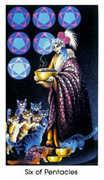 Six of Coins Tarot card in Cat People Tarot deck
