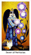 Seven of Coins Tarot card in Cat People deck