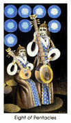 Eight of Coins Tarot card in Cat People Tarot deck