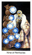 Nine of Coins Tarot card in Cat People deck