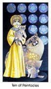 Ten of Coins Tarot card in Cat People deck