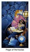 Page of Pentacles Tarot card in Cat People Tarot deck