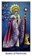 Queen of Coins Tarot card in Cat People Tarot deck