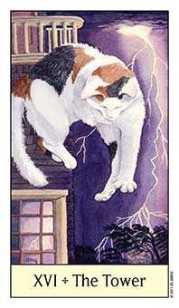 The Falling Tower Tarot Card - Cat's Eye Tarot Deck