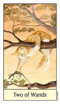 Two of Batons Tarot Card - Cat's Eye Tarot Deck