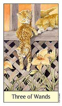 Three of Batons Tarot Card - Cat's Eye Tarot Deck