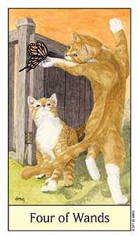 Four of Staves Tarot Card - Cat's Eye Tarot Deck
