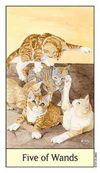 Five of Batons Tarot Card - Cat's Eye Tarot Deck