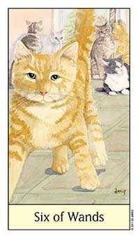 Six of Rods Tarot Card - Cat's Eye Tarot Deck