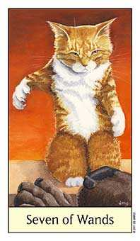 Seven of Rods Tarot Card - Cat's Eye Tarot Deck