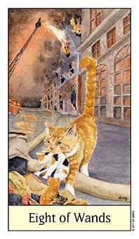 Eight of Batons Tarot Card - Cat's Eye Tarot Deck