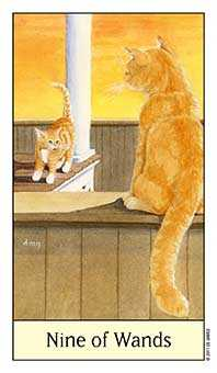 Nine of Batons Tarot Card - Cat's Eye Tarot Deck