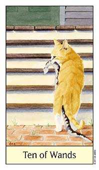 Ten of Batons Tarot Card - Cat's Eye Tarot Deck