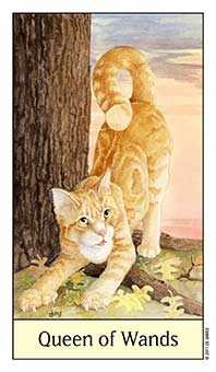 Queen of Staves Tarot Card - Cat's Eye Tarot Deck