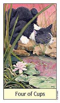 Four of Hearts Tarot Card - Cat's Eye Tarot Deck