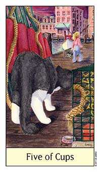 Five of Cauldrons Tarot Card - Cat's Eye Tarot Deck