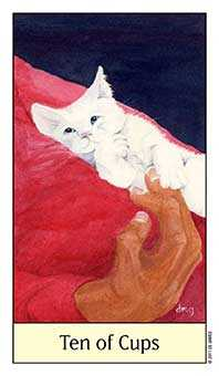 Ten of Hearts Tarot Card - Cat's Eye Tarot Deck