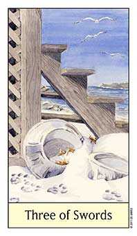 Three of Wind Tarot Card - Cat's Eye Tarot Deck