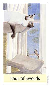 Four of Bats Tarot Card - Cat's Eye Tarot Deck