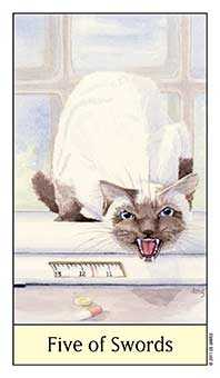 Five of Bats Tarot Card - Cat's Eye Tarot Deck