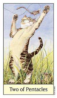 Two of Coins Tarot Card - Cat's Eye Tarot Deck