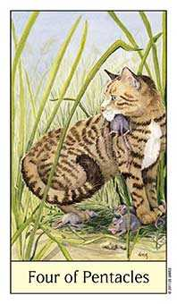 Four of Stones Tarot Card - Cat's Eye Tarot Deck