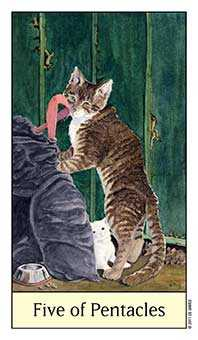 Five of Diamonds Tarot Card - Cat's Eye Tarot Deck