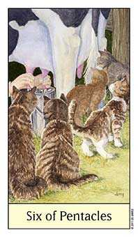 Six of Coins Tarot Card - Cat's Eye Tarot Deck