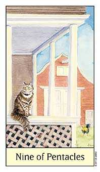 Nine of Discs Tarot Card - Cat's Eye Tarot Deck