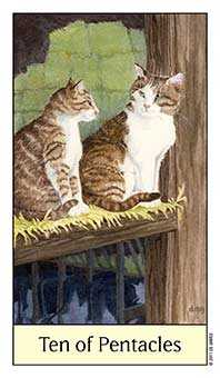 Ten of Stones Tarot Card - Cat's Eye Tarot Deck