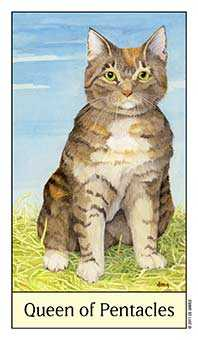 Queen of Coins Tarot Card - Cat's Eye Tarot Deck