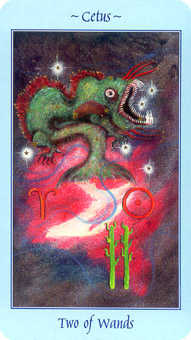 Two of Staves Tarot Card - Celestial Tarot Deck