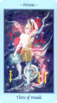 Three of Batons Tarot Card - Celestial Tarot Deck