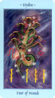 Four of Sceptres Tarot Card - Celestial Tarot Deck