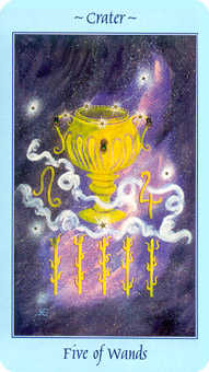 Five of Sceptres Tarot Card - Celestial Tarot Deck