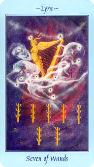 Seven of Staves Tarot Card - Celestial Tarot Deck
