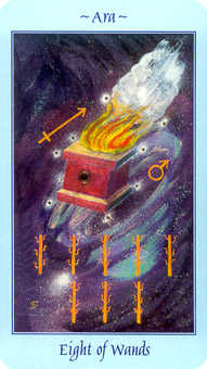 Eight of Batons Tarot Card - Celestial Tarot Deck